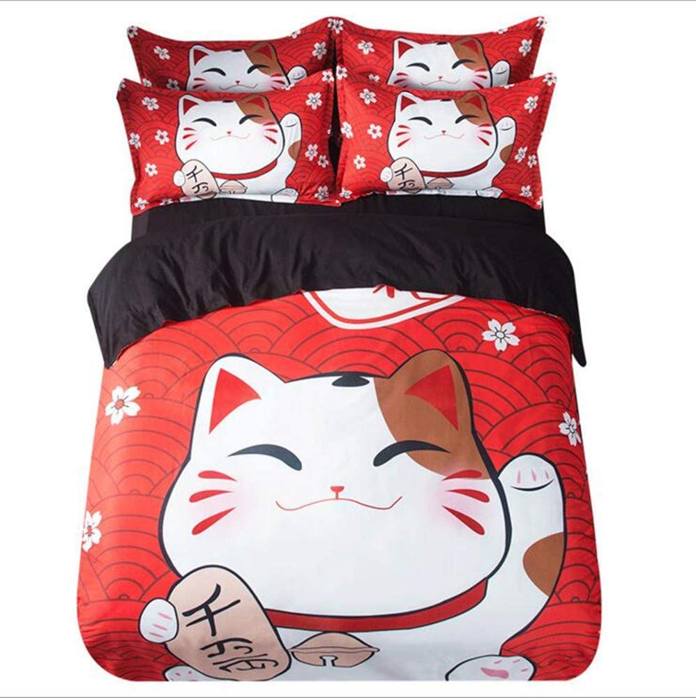 Judy Dre am Anime Printed Bedding Sets 4pcs Bed Sets Cartoon Cats Flat Sheet Sets 4pcs Polyester Duvet Cover Set Queen Size
