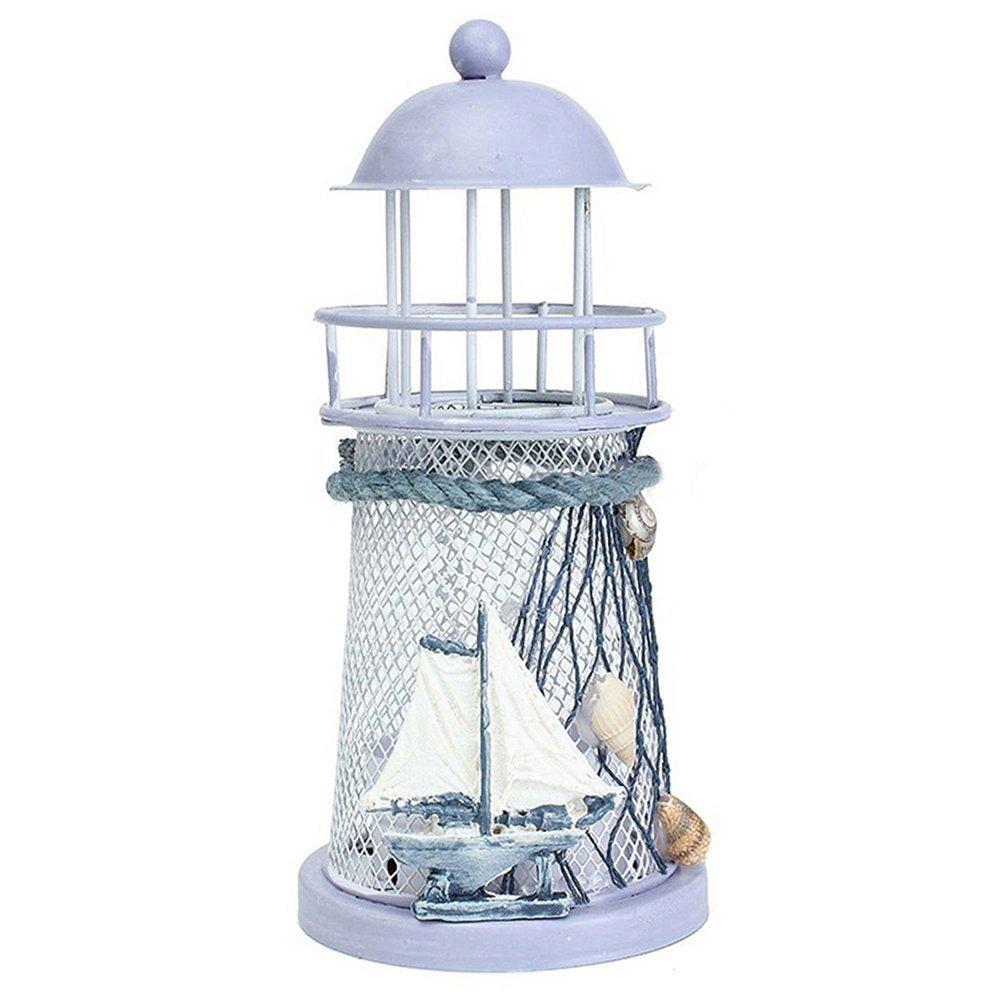 Zhouba vintage mediterraneo ferro torre Lampstand a lume di candela candelabro, Ferro, Random Style, taglia unica
