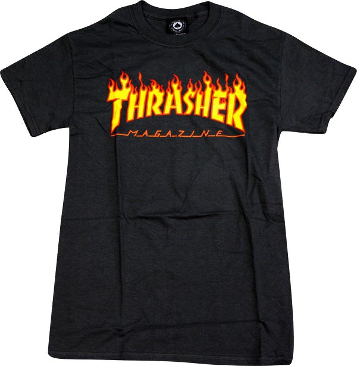 Thrasher Magazine Flame Black Small T-Shirt