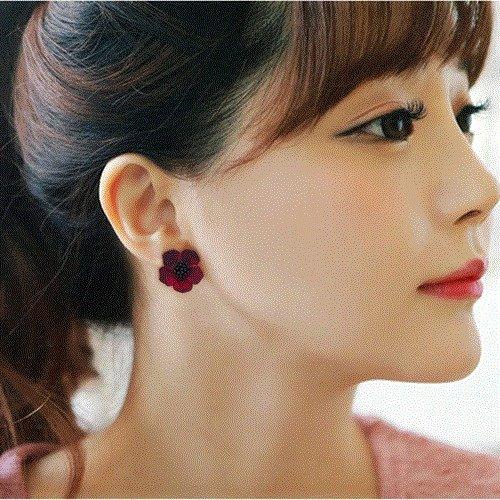 usongs Earrings women girls elegant sweet flower pin five and hypoallergenic fashion earrings