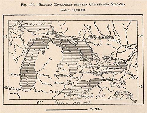 Silurian escarpment between Chicago & Niagara. Great Lakes. Canada - 1885 - old map - antique map - vintage map - printed maps of North - Shipping Canada Address
