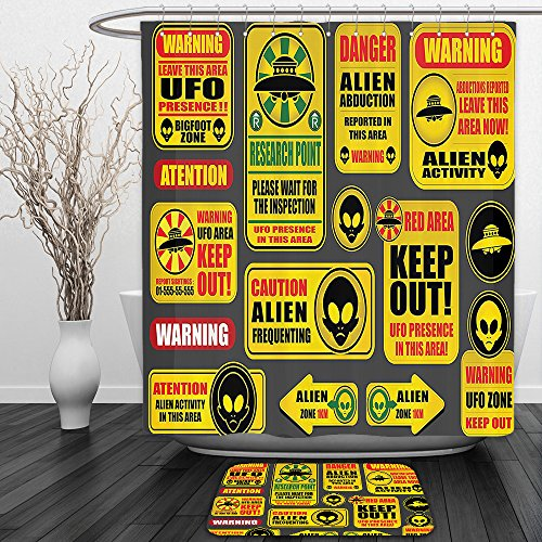 Vipsung Shower Curtain And Ground MatOuter Space Decor Warning Ufo Signs with Alien Faces Heads Galactic Paranormal Activity Design Decor YellowShower Curtain Set with Bath Mats Rugs by vipsung