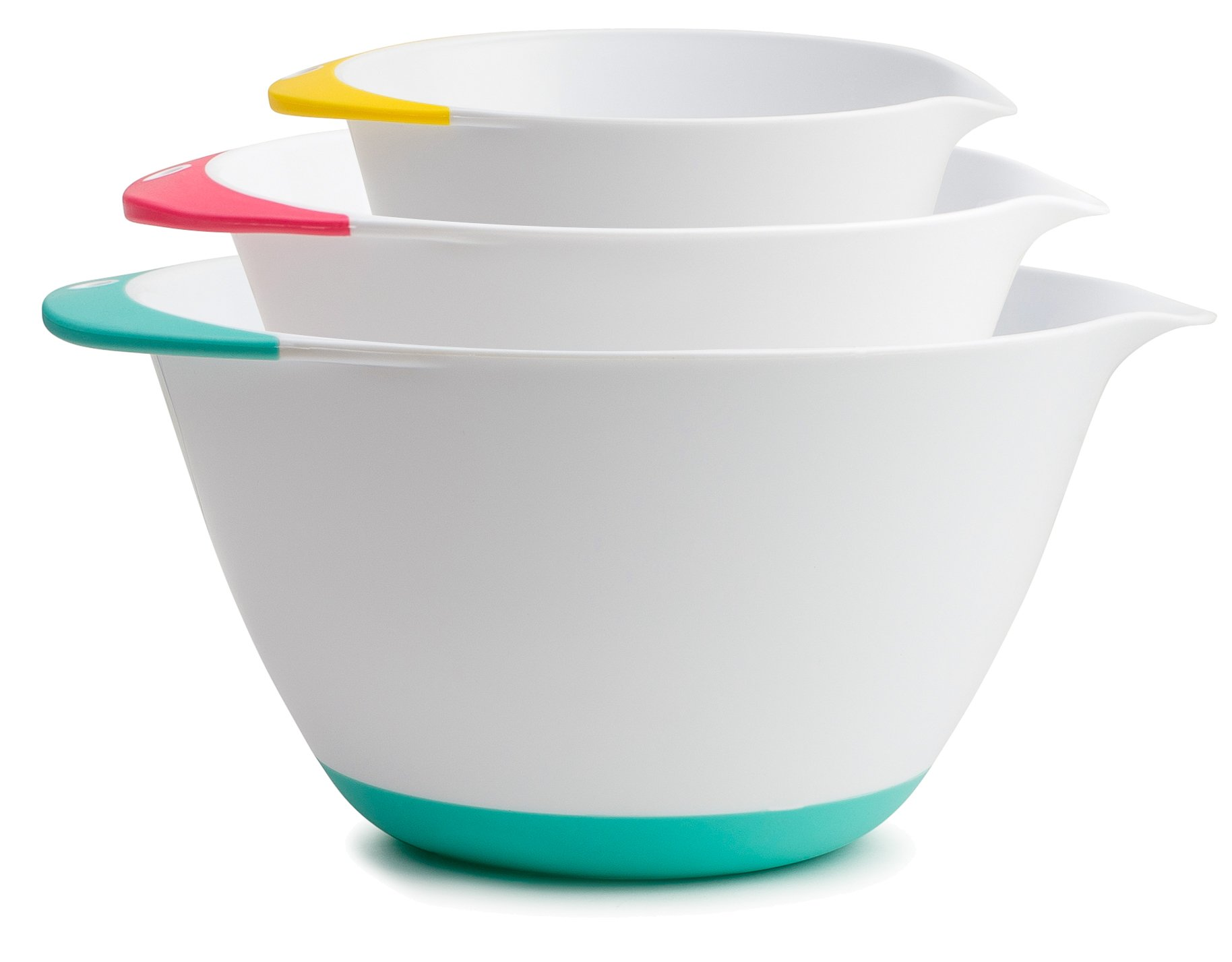 KUKPO Mixing Bowls – 3 piece set Includes 1.8 Qt, 3.6 Qt, 6.5 Qt, Easy Grip Handle With Non - Skid Bottom