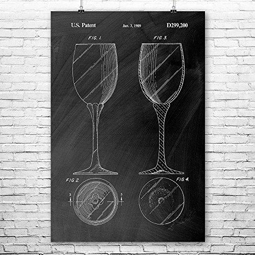 Stemmed Wine Glass Poster Art Print, Connoisseur, Bartender, Merlot, Shiraz, Pinot, Noir, Grigio, Sauvignon, Cabernet Chalkboard (Black) (8