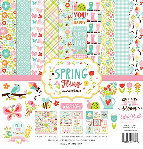 Echo Park Paper Company Spring Fling Collection Kit Paper Pink, Yellow, Teal, Green, Brown, Orange