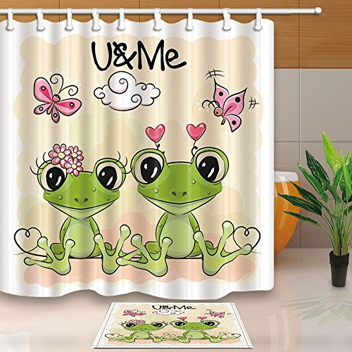 (NYMB HNMQ Cartoon Frogs Shower Curtain Bathroom, Valentine's Flowers Butterfly Kids Decor, 69X70in Polyester Fabric Curtains Set 15.7x23.6 Flannel Non-Slip Floor Doormat Entrance Mats)