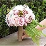 KUPARK-Handmade-Romantic-Roses-Dahlia-Peony-Hydrangea-Artificial-Flowers-Blossom-with-Leaves-Decor-Bridal-Bridesmaid-Bouquet-Home-Wedding-Decoration-Gift-for-Birthday-Valentines-Day