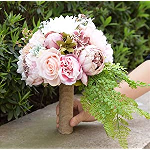 KUPARK Handmade Romantic Roses Dahlia Peony Hydrangea Artificial Flowers Blossom with Leaves Decor Bridal Bridesmaid Bouquet Home Wedding Decoration Gift for Birthday Valentine's Day 2