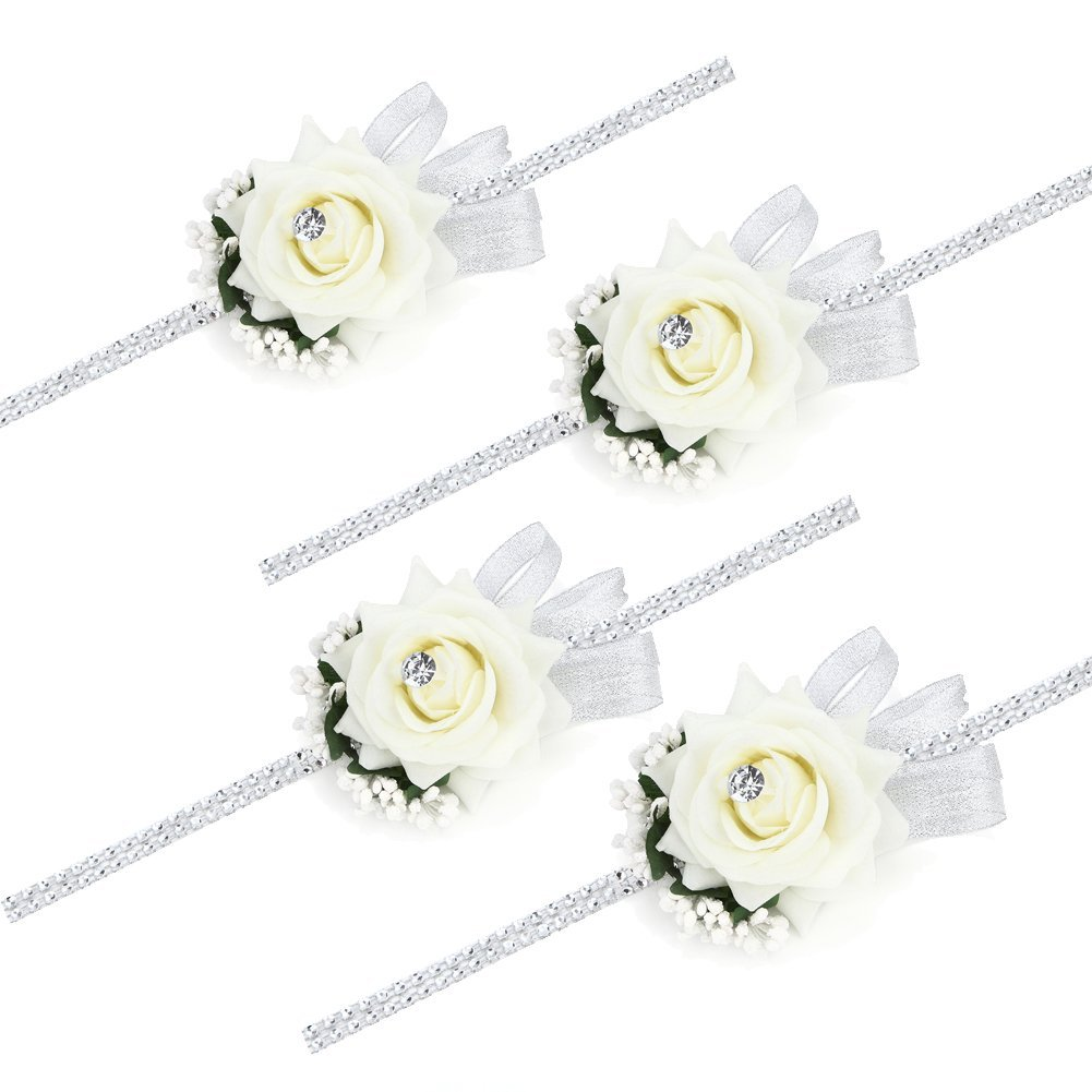 Rose Flower Wrist Corsage Silvery Bling Ribbon Rhinestone Stretch Bracelet Wedding Prom Pack of 2 Ivory