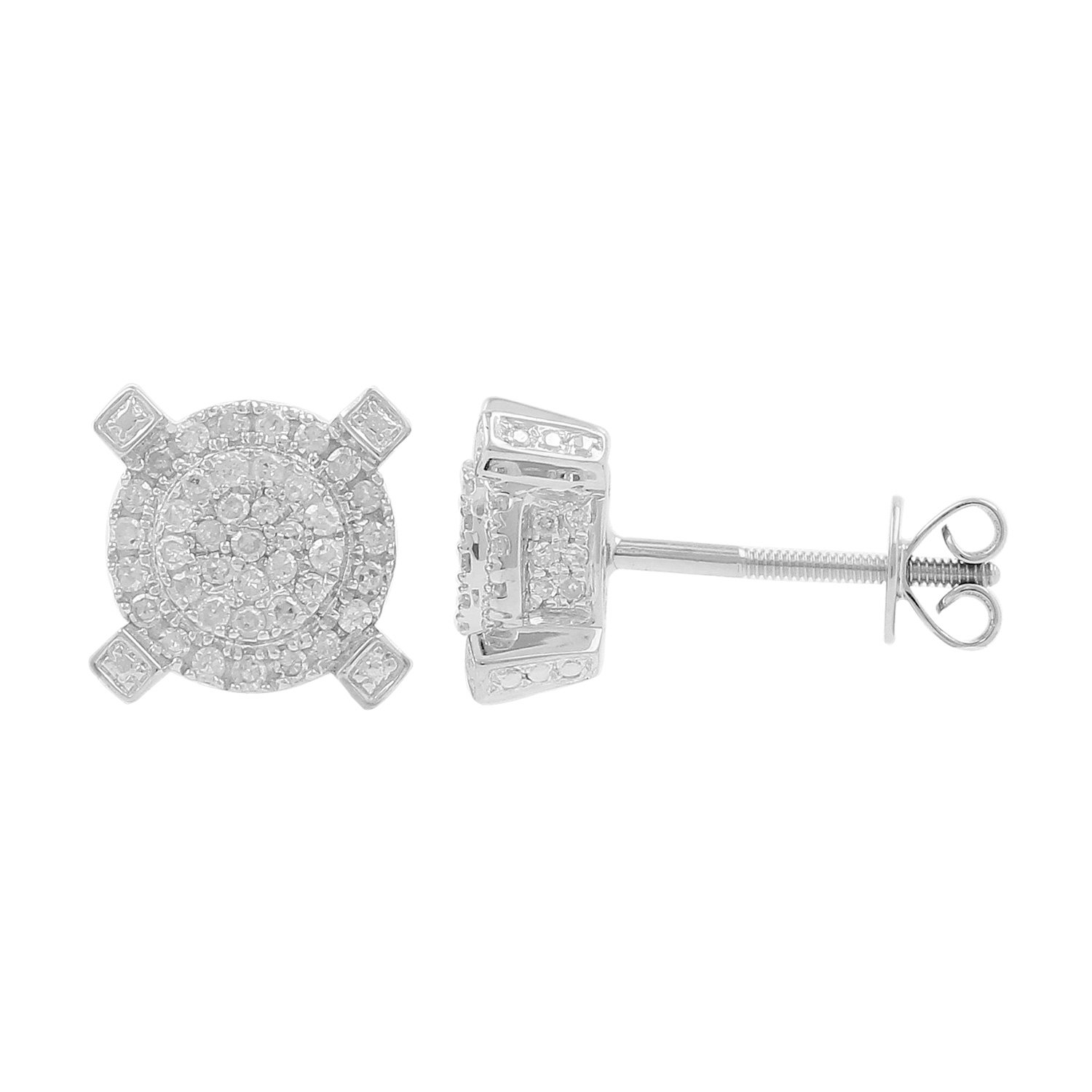 0.50ct Diamond Round Cluster 9mm Wide Mens Iced Stud Earrings in 925 Silver-1/2 CTTW (I-J, I2-I3)