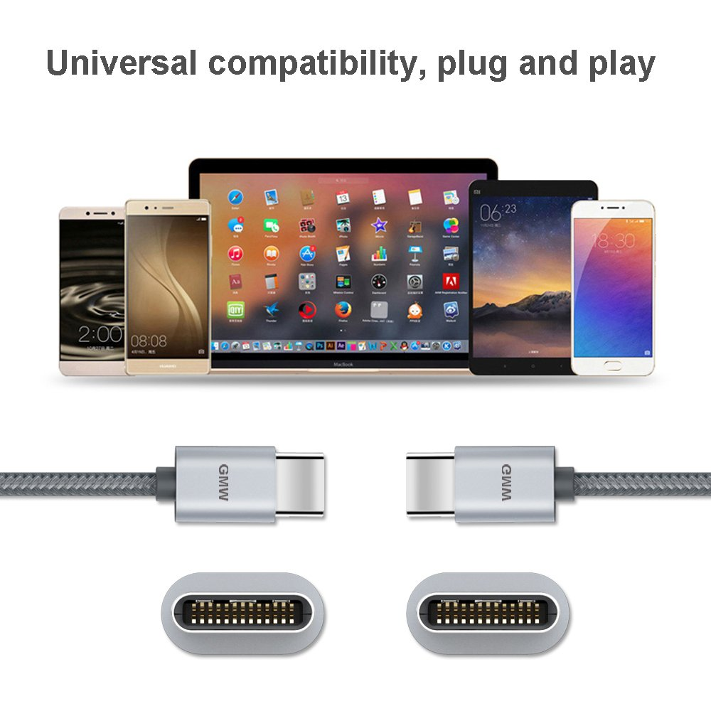 USB Type C Fast Charging Cable, GMW USB Type A to Type C Charger Cord Nylon Braided 6.6 FT 2 Pack for Huawei P20, Samsung Galaxy S9, Note 8, S8 Plus, Google Pixel