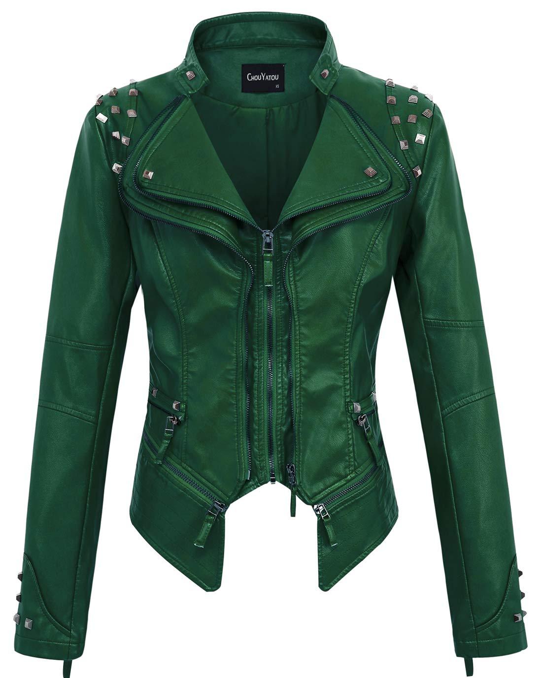 chouyatou Women's Fashion Studded Perfectly Shaping Faux Leather Biker Jacket (Large, Green) by chouyatou