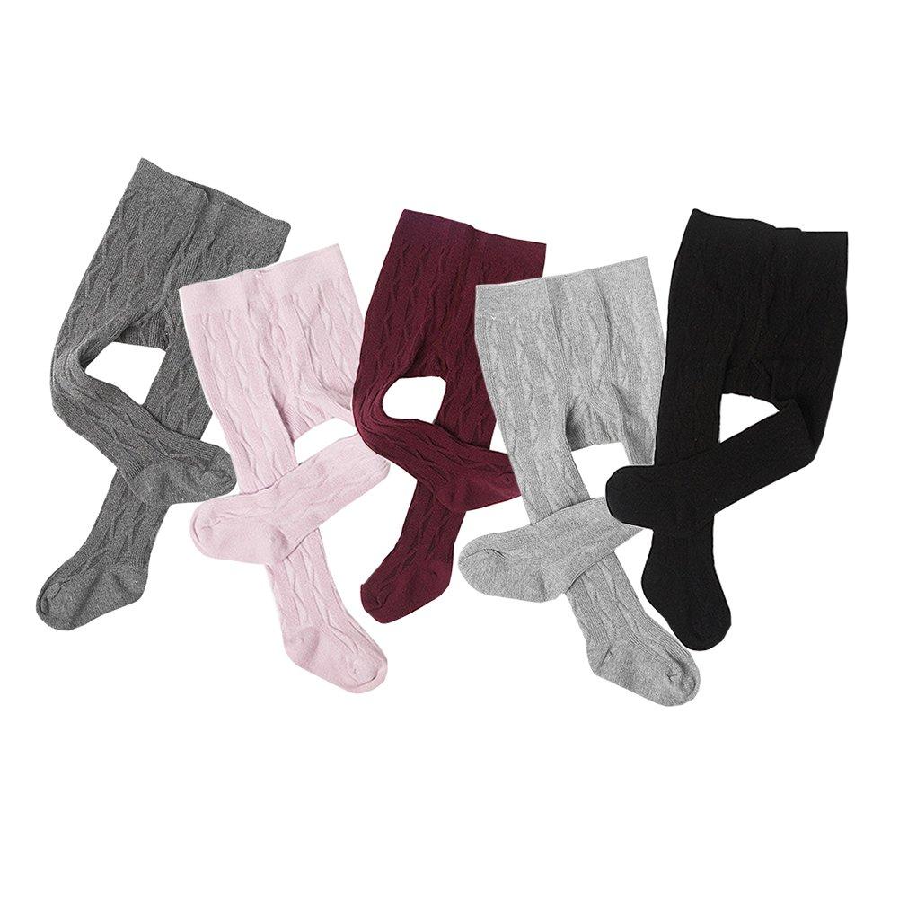 Taiycyxgan Baby Toddler Girls Boys Cable Knit Tights 5 Pack Girls Legging Pants Stocking