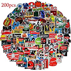 PETYES Guarantee Quality 200pcs:  The Fashion Supreme and Brand stickers are 100% vinyl stickers made with high quality PVC with Sun Protection and Waterproof Funtion.  What is Features of Our Supreme and brand Stickers?  - Sun protection an...