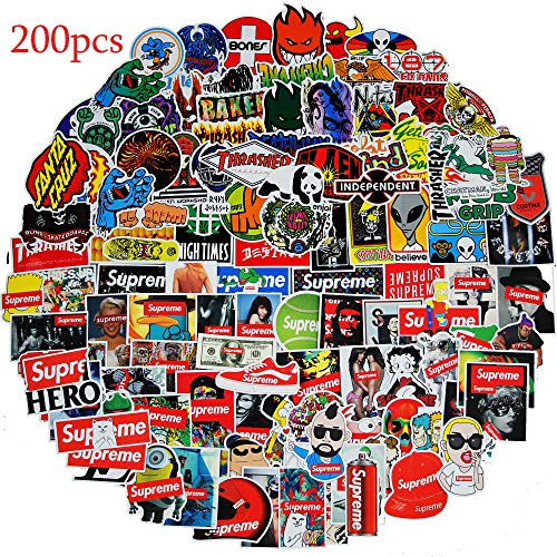 Fashion Supreme and Brand Stickers(200pcs),Decals for Cars Skateboard Motorcycle Bicycle Skateboard Graffiti Patches Stickers for Adults ()