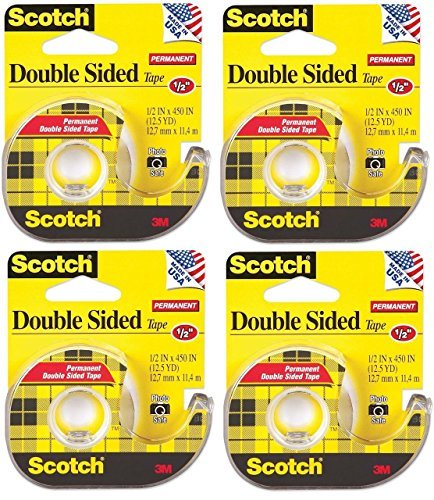 Scotch 137 Double-Sided Office Tape with Hand Dispenser, 1/2 x 450 Inches (Pack of 4) ()