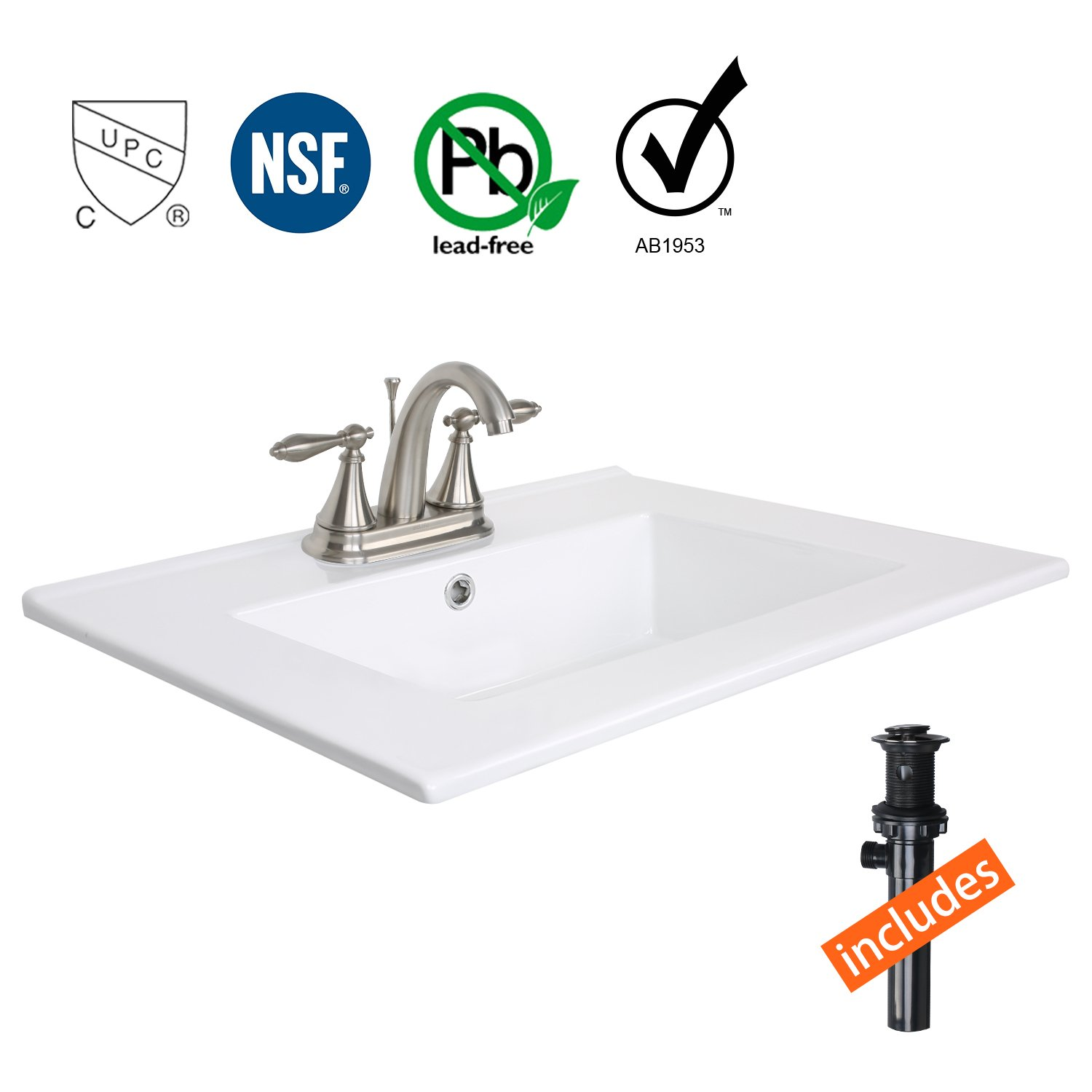 Eclife 24'' Drop in Rectangle Bathroom White Ceramic Sink Top Countertop with CUPC&NSF&AB1953&Lead Free High Arc Temp Control 3 Head Faucet T0102 (Brushed Nickel 02)