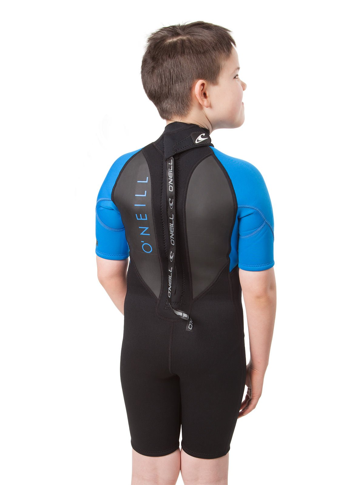 O'Neill Youth Reactor-2 2mm Back Zip Short Sleeve Spring Wetsuit, Black/Ocean, 4 by O'Neill Wetsuits (Image #5)