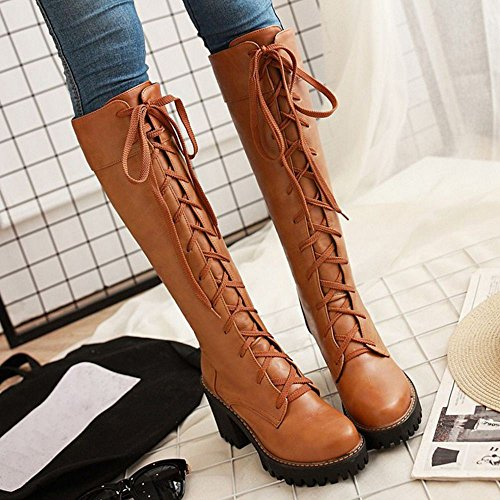 Lace Up Chunky Yellow Femmes Bottes Coolcept xafqvwn8Cg