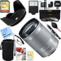 Canon (1376C002) EF-M 18-150 f/3.5-6.3 IS STM Zoom Lens for EOS M Series Cameras – Silver + 64GB Ultimate Filter & Flash Photography Bundle