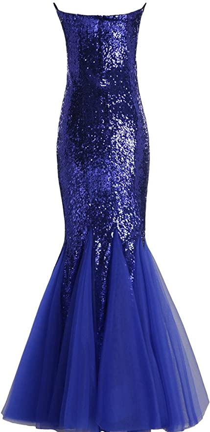 Amazon.com: BIXIZHIRAN Womens Trumpet Fitted Mermaid Tulle Sequin Long Prom Dresses Blue US 14: Clothing