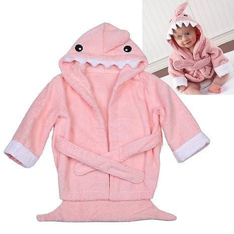 5885dd0e25613 Peignoir Sortie de Bain Animaux pour Bébé - Robe de Chambre Requin Rose