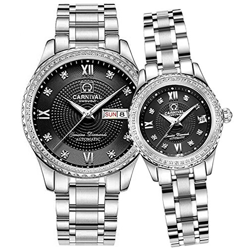 Men and Women Automatic Mechanical Watch Couple Sapphire Glass Watches Romantic for Her or His Gift Set 2 (Silver Black) by MASTOP