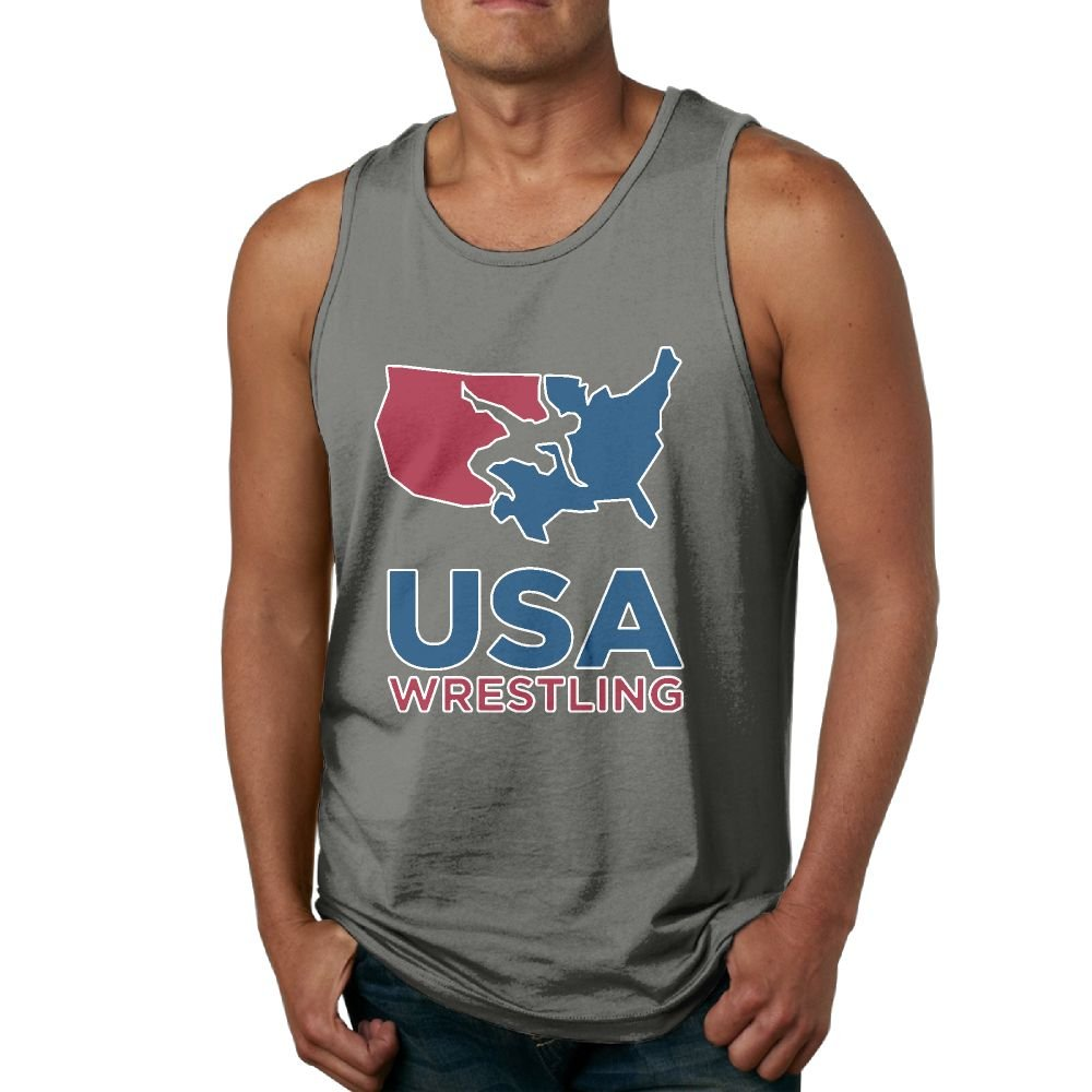 JIW Iaa USA Wrestling Membership Mens Casual Sleeveless Tank Top Summer Sport Gym Tees