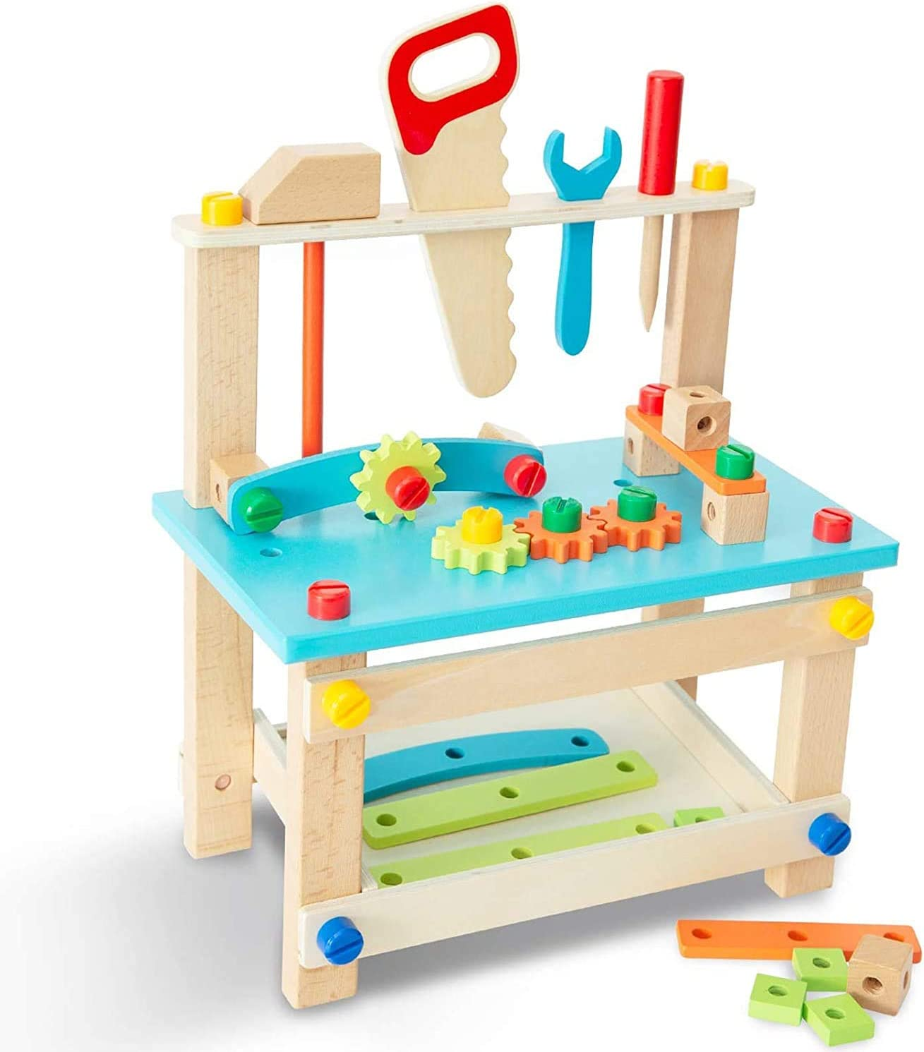 ELTUILMP Wooden Workbench Building Toy Construction Tools, Play Tool Workbench Set for Kids Toddlers, Wooden Tool Bench Workshop Gift for Boys Girls 3-Year-Old and Up