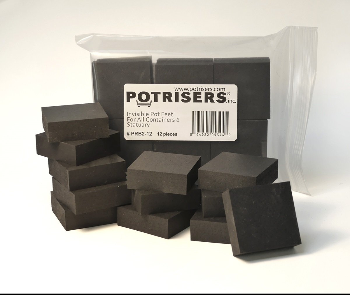 Potrisers (12 Pack) Invisible Pot Feet for Large Pots, Black, supports 3 to 4 large Pots or Statuary.