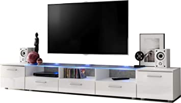 ExtremeFurniture Long Mueble para TV, Carcasa en Blanco Mate/Frente en Blanco Alto Brillo sin LED: Amazon.es: Electrónica