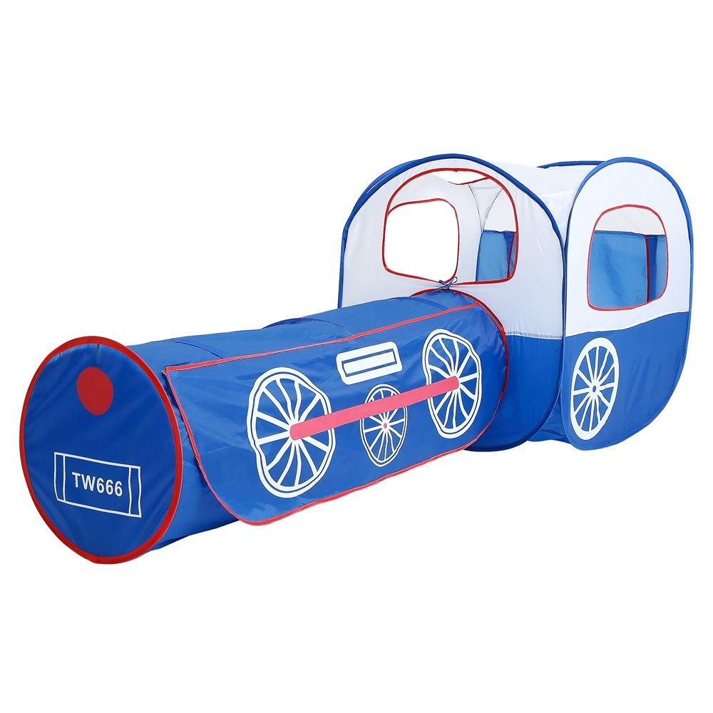 WoneNice 子供用プレイテント トンネル付き 2イン1 ポップアップ式 子供用プレイテントハウス トンネル付き 屋内 屋外 テント ファスナー付き収納バッグ 女の子 男の子用 B07H7FQ5F7
