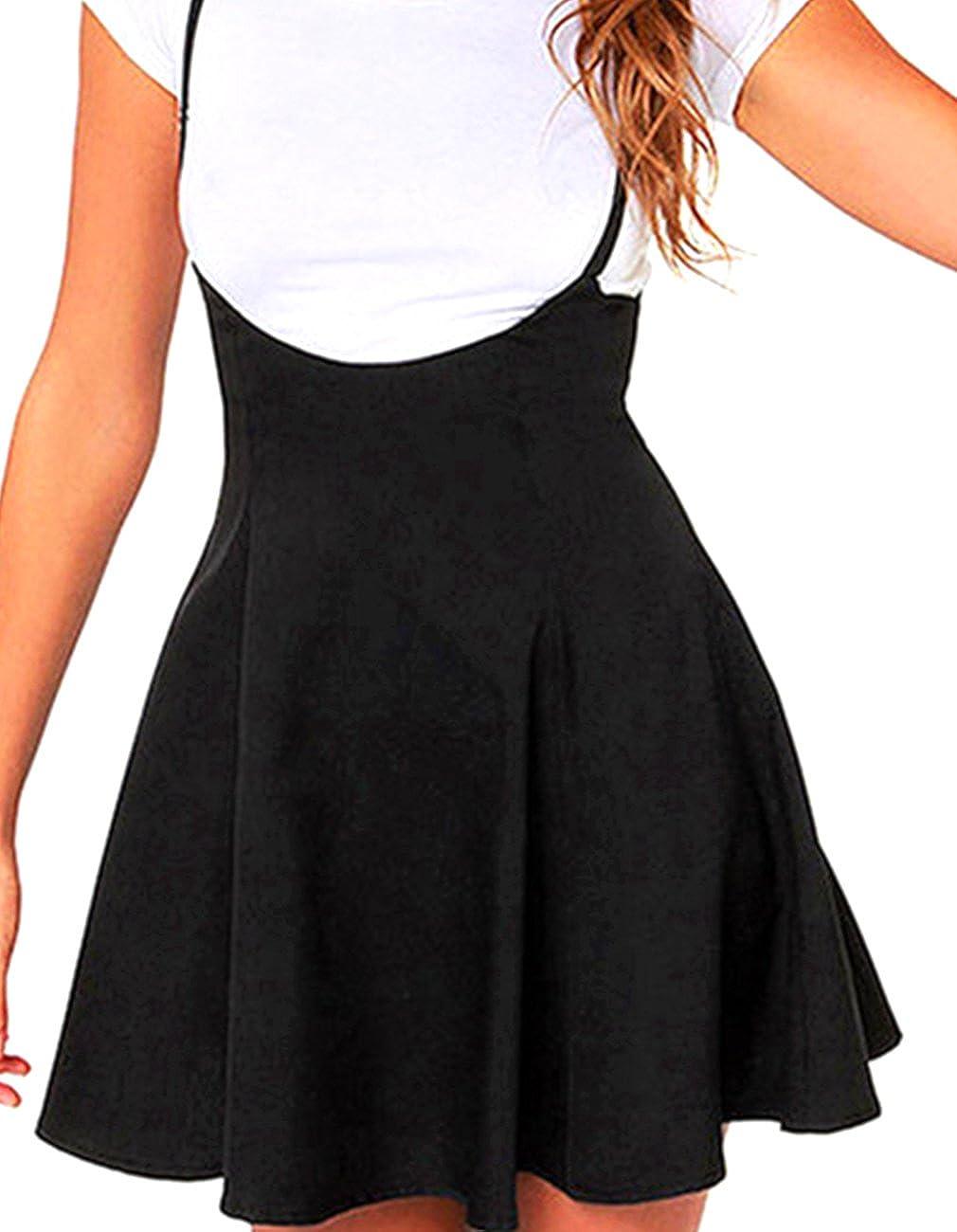 dc062b9dd877 Amazon.com: Defal Women's Suspender Braces Casual Skirt Dress Basic High  Waist Versatile Flare Skater Shoulder Straps Short Skirt: Clothing