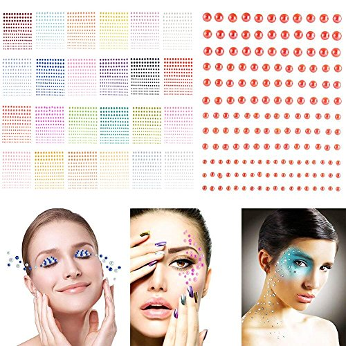color Half Round Pearls Stickers in 24 Colors & 4 Sizes, 24 Sheets Self-Adhesive Faux Pearl Embellishment Stickers for Nail Art Makeup Scrapbooking and Crafts 3mm 4mm 5mm 6mm ()