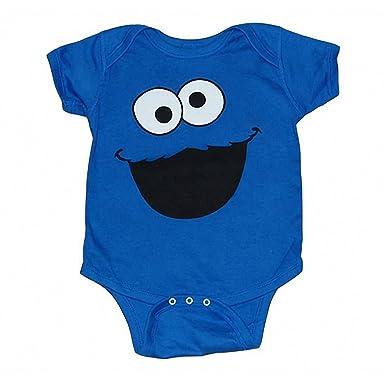 51ad6d45607e Amazon.com  Sesame Street Cookie Monster Face Infant Onesie Romper ...