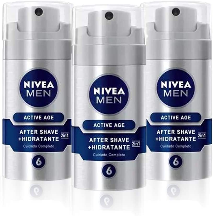 NIVEA MEN Active Age Bálsamo Anti-edad 2en1 en pack de 3 (3 x 75 ...