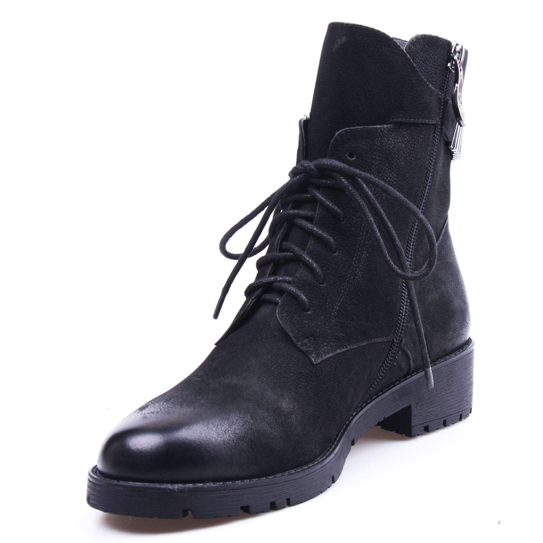 Black MARHEE Laceup Zipper Footwear Handmade Genuine Women Leather Boots