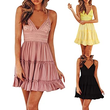 ed745d60bf2a Image Unavailable. Image not available for. Color  sexy Mini Dress Evening  Party Beach Dress Sundress for Women ...