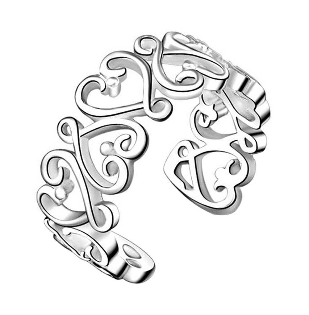 Lumanuby 1 X Women Girls Fashion Open Ring Silver Color Ring Hollow Heart-Shaped Vines Finger Ring Valentine's Day Party Xmas Gift Adjustable Size 142014VCRXC215