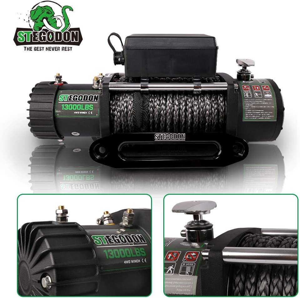 Load Capacity Electric Winch,12V Synthetic Rope Electric Winch with Hawse Fairlead,Waterproof IP67 Winch with Wireless Handheld Remotes and Wired Handle STEGODON New 13000 lb All Black