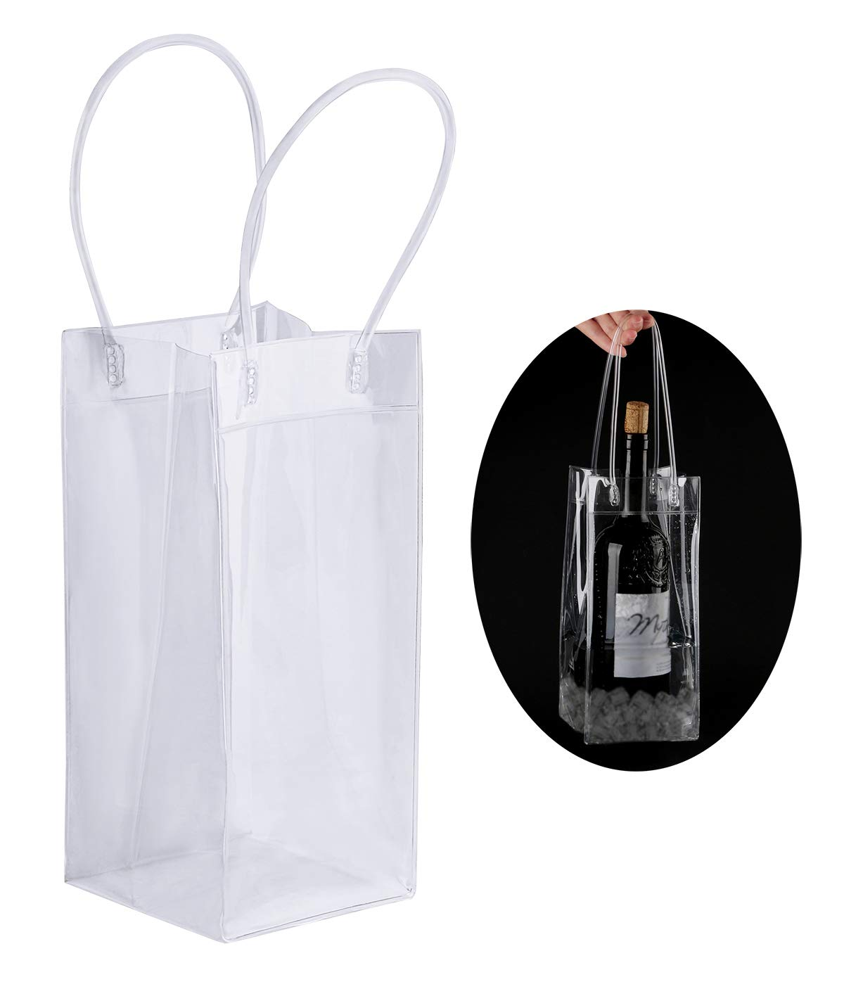 Driew Wine Ice Bag Pack of 24, Clear Wine Bags with Handles Beverages Cooler Bag for Wine Beer Party Outdoor