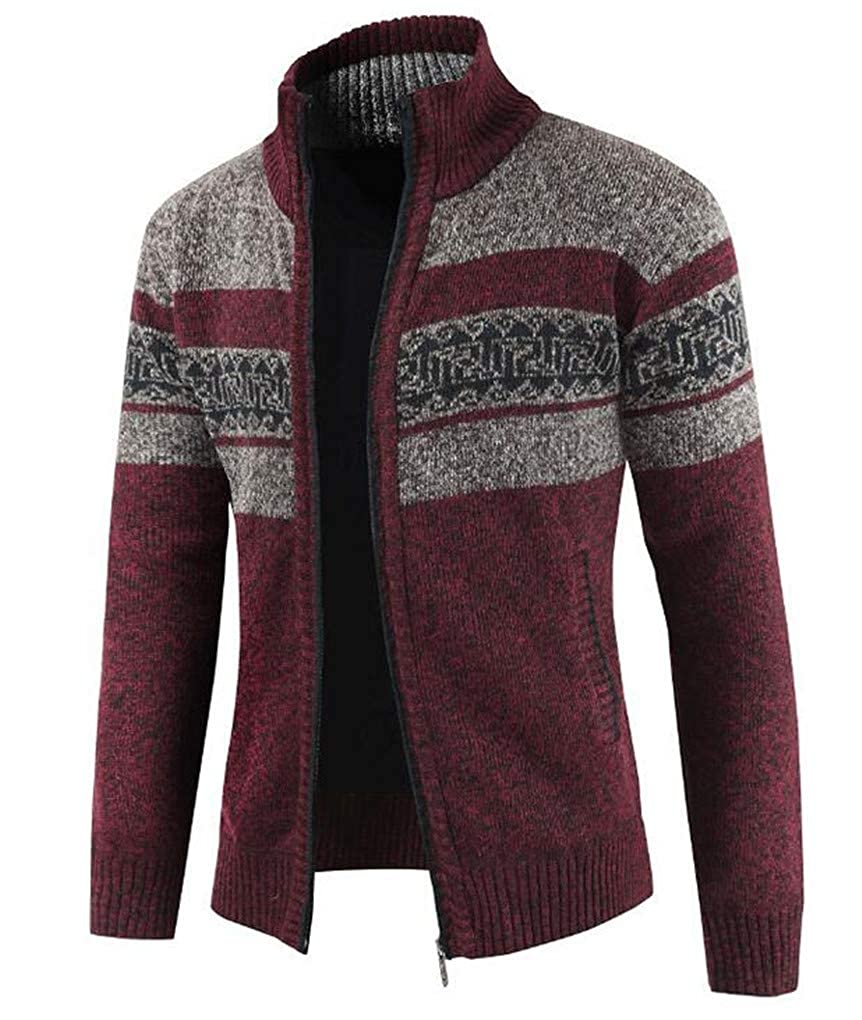 Cafuny Mens Casual Slim Fit Stand Collar Patchwork Warm Zipper Knit Cardigan Sweater