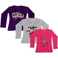 IndiWeaves Girls Cotton Full Sleeves Printed T-Shirt (Pack of 3)