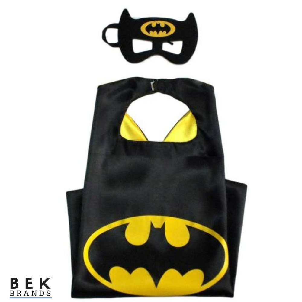 Bek Brands Batman Superhero Cape and Mask Set | Dress up Satin Cape and Felt Mask, Costume for Kids Party