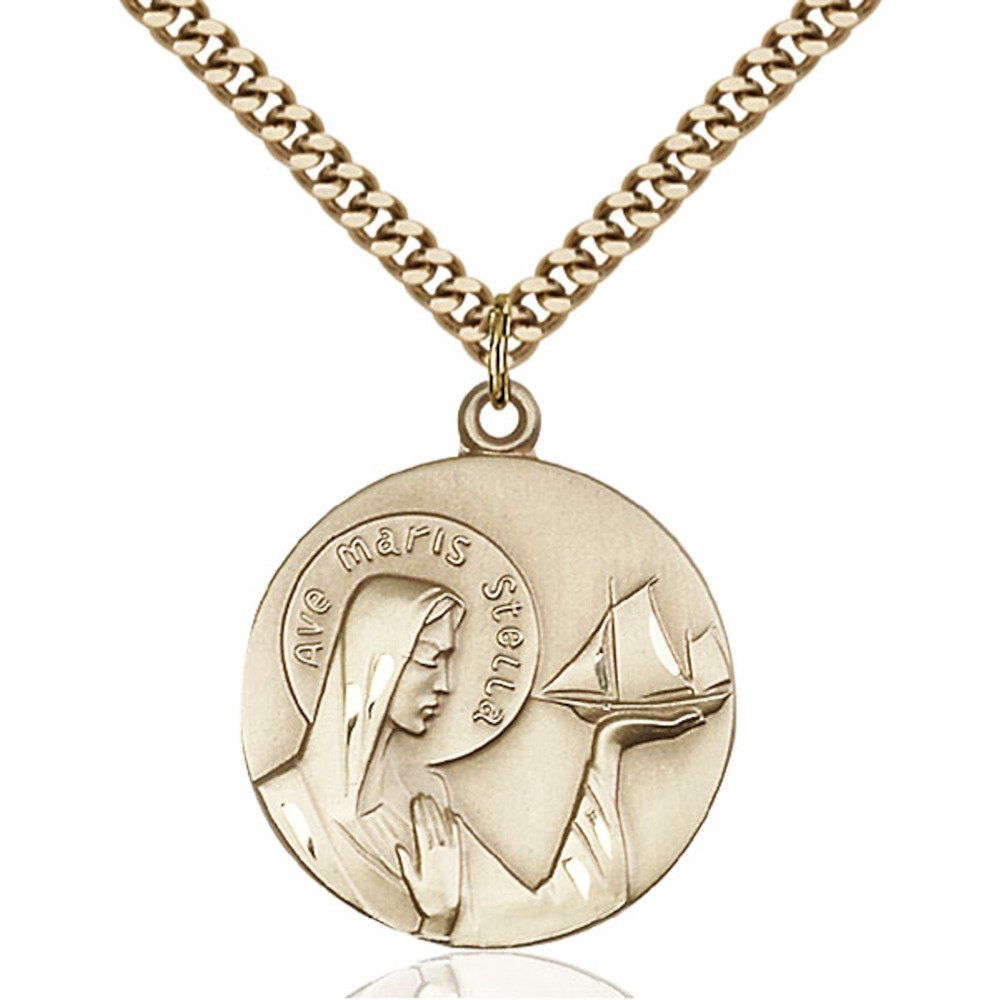 Gold Filled Our Lady of Star of the Sea Pendant 1 x 7/8 inches with Heavy Curb Chain by Bonyak Jewelry Saint Medal Collection