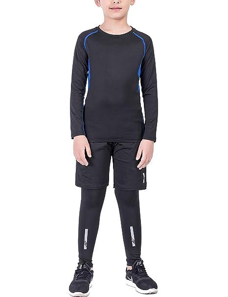 Echinodon Jungen 3tlg Sport-Set mit Reflektoren Kompressionsshirt + Kompressionshose + Sportshorts Sportunterwäsche Set für F
