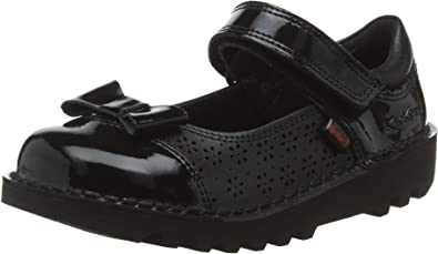 UK Size New Younger Girls//Childrens Black Kickers Flutter Touch Fasten Shoes