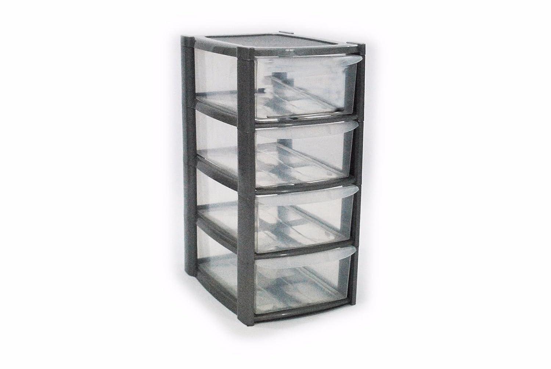 4 Drawer Mini Small Plastic Storage Tower Silver Viss