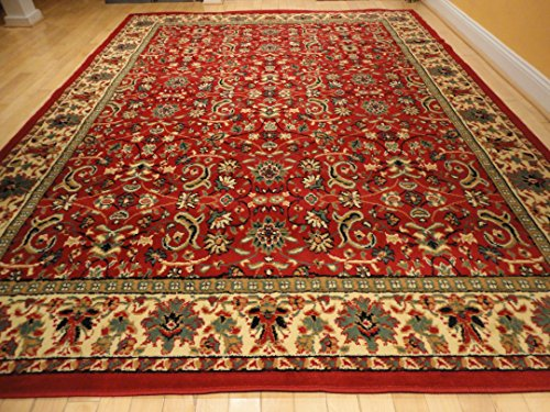 Red traditional rug large red 2x8 persian rug red area for How long do carpets last