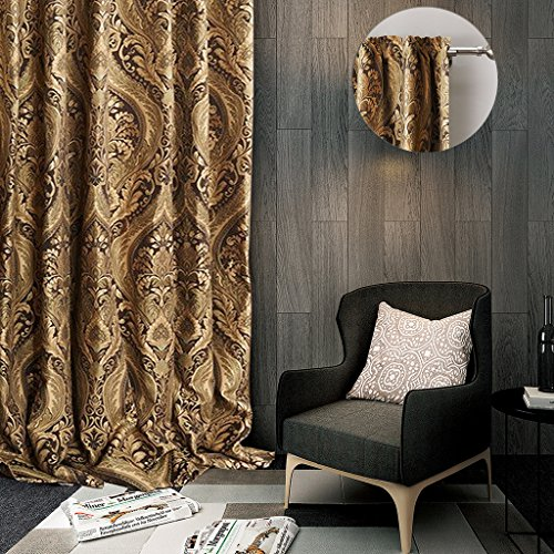 ChadMade Rod Pocket Luxury Heavy Weight Rayon Chenille Floral Jacquard 100Wx102L Inch Blackout Lined Curtain Panel Drapery For Bedroom Living Room Club Restaurant Villa